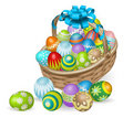 Colourful Painted Easter Eggs Basket Royalty Free Stock Image - 22425096