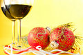 Glasses Of Wine And Christmas Balls Royalty Free Stock Photo - 22429165