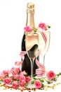 Pink Roses And Champagne Stock Photography - 22441542