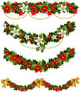 Green Christmas Garlands Of Holly And Mistletoe Stock Images - 22458014