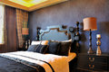 Bedroom Deep Blue Decoration In Noble Style Royalty Free Stock Photos - 22486578