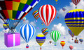 Hot-air Balloons In The Sky, With Basket/gifts Stock Photo - 22519340