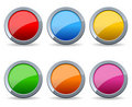 Glossy Round Metal Buttons Set Royalty Free Stock Images - 22532029