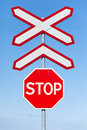 Stop Railway Crossing Signs Royalty Free Stock Photo - 22595685