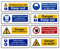 Construction Health Safety Danger Warning Signs Stock Image - 22637921
