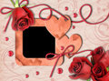 Vintage Photo Frame, Red Roses And Heart Stock Photo - 22717010