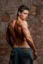 Muscular Young Naked Sexy Man In Jeans Royalty Free Stock Photos - 22720878