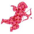Valentines Day Cupid With Pink Pattern Hearts Stock Photos - 22724293