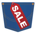 Vector Jeans Pocket With Sale Tag Royalty Free Stock Image - 22728856