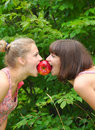 Two Sisters Sharing An Apple Royalty Free Stock Photos - 22733828