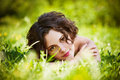 Girl Lies On Lawn Stock Image - 22797291
