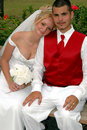 Bride And Groom On Park Bench Royalty Free Stock Photography - 2286057