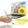 Summer Background With Smiling Girl From Notebook Royalty Free Stock Photos - 22826378