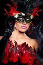 Young Sexy Woman In Black  Party Half Mask Stock Photo - 22863890