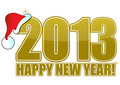 2013 Happy New Year Golden Royalty Free Stock Image - 22904846
