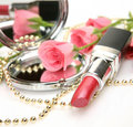 Pink Lipstick And Roses Stock Photography - 22944132