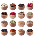 Set Of Wooden Bowls Full Of Different Spices Stock Photos - 22951493