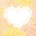 Romantic Vector Heart-frame With Chrysanthemum Royalty Free Stock Photography - 22953387