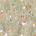 Floral Pattern With Birds In Love Royalty Free Stock Photos - 22996198