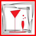 Abstraction Wineglass And Black Red Lines Stock Image - 22998911