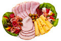 Dish With Sliced Smoked Ham, Salami Rolls. Stock Image - 23029781