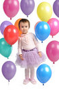Little Baby With Many Colorful Balloons Royalty Free Stock Images - 23036359