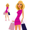 Blond Woman With Shopping Bags Stock Photo - 23054360