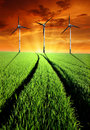 Spring Landscape With Wind Turbines Royalty Free Stock Image - 23073206