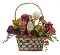 Wicker Basket With Artificial Flowers Royalty Free Stock Photos - 23097878