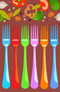Set Of Forks With Vegetables Stock Images - 23113854