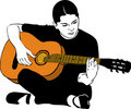 A Girl Playing On An Acoustic Guitar Royalty Free Stock Image - 23119596