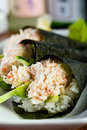 Hand Rolled Crab Sushi Stock Images - 23153754