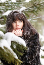 Portrait Of A Young Girl With The Snow In Her Hair Royalty Free Stock Images - 23174149