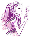Abstract Girl With Flowers In Profile Stock Photos - 23185153
