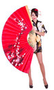 Woman In Asian Costume With Red Asian Fan Stock Photos - 23204543
