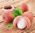 Lychee With Leaves Royalty Free Stock Photos - 23215468