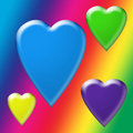 Rainbow Wallpaper With Floating Bubble Hearts Stock Image - 23253431