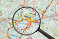 Destination - Oslo (with Magnifying Glass) Royalty Free Stock Photography - 23260877