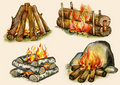 Four Types Of Campfires Royalty Free Stock Photo - 23321725