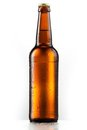 Brown Entire Bottle Of Beer With Drops Isolated On White Royalty Free Stock Photo - 23334535
