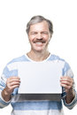 Man Holding A Blank Billboard Isolated On White Stock Image - 23370871