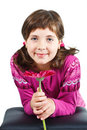 Cute Girl With Flower Royalty Free Stock Images - 23387009