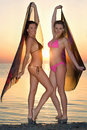 Two Girls In The Sea Royalty Free Stock Photo - 23410775