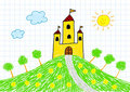 Drawing Of Yellow Castle Royalty Free Stock Photo - 23413795