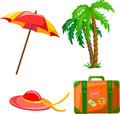 Cartoon Palm, Umbrella Vector Royalty Free Stock Photography - 23414777