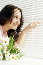 Lucky Girl Looks Out The Window  Stock Image - 23417901