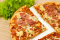 Appetizing Pizza With Ham Royalty Free Stock Photo - 23423135