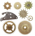 Set Gears Clock Mechanism Isolated On White Royalty Free Stock Photography - 23426997
