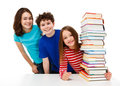 Students And Pile Of Books Royalty Free Stock Images - 23427219