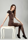 Young Beautiful Brunette Girl In Dress Stock Image - 23431831